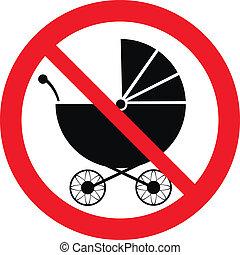 No pram sign on white background. Vector illustration.