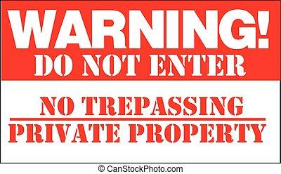 no, privado, violación, warning!, entrar, no, propiedad