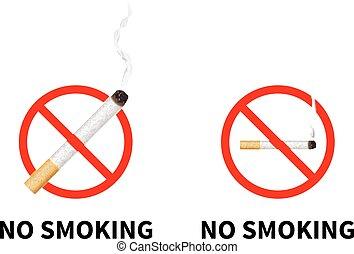 no, prohibido, aislado, cigarrillo, realista, white., señales, fumar