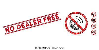 No Radio Transmitter Mosaic and Distress No Dealer Free Stamp Seal with Lines