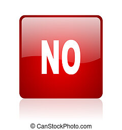 no red square glossy web icon on white background