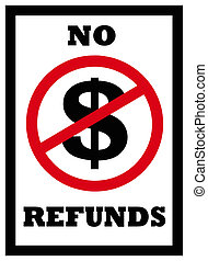 no refunds sign - sign indicating no refunds will be given...