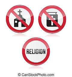 No religion, no church red sign