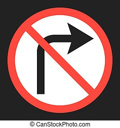 No Right prohibition turn sign flat icon, Traffic and road...