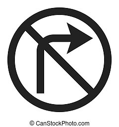 No Right prohibition turn sign line icon, Traffic and road...