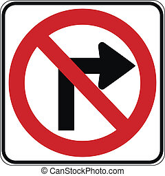 No right turn road sign
