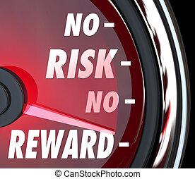 No Risk No Reward Words Speedometer Investment ROI