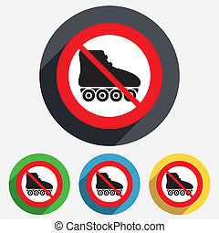 No Roller skates sign icon. Rollerblades symbol. - No Roller...