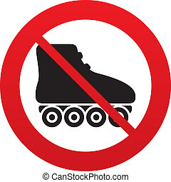 No Roller skates sign icon. Rollerblades symbol. Red...