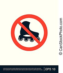 No roller skates sign, vector illustration