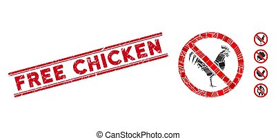 No Rooster Mosaic and Distress Free Chicken Stamp Seal with Lines