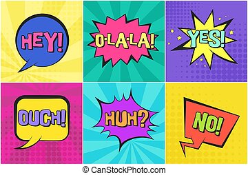 no, sì, ehi, discorso, retro, bolle, comico