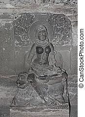 no., sabha, caverna, caverna, índia, indra, 32, aurangabad, ellora, jain