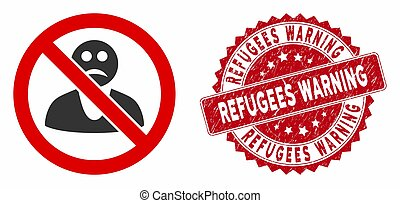 No Sad Person Icon with Scratched Refugees Warning Stamp