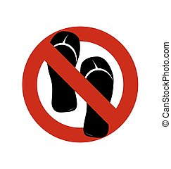 No sandals, No shoes, No slippers sign on white background....