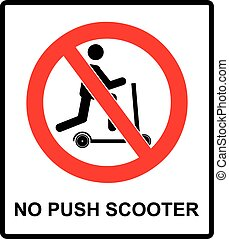 No scooters allowed symbol. Vector prohibition icons for...