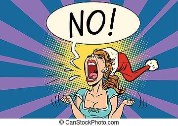No screams Santa woman. Comic book cartoon pop art retro...