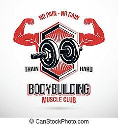 no, señal, compuesto, emblema, dumbbell., potencia, cargamaento, vector, campeonato, dolor, ganancia, peso, pesado, muscular, disco, elevación, lettering., brazos, deportista