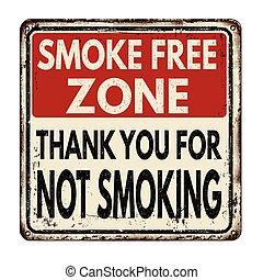 no, señal, libre, zone., humo, fumar, metal, agradecer, vendimia, usted