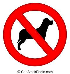 no, señal, perros, área