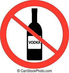no, señal, vodka, botella