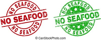 NO SEAFOOD Round Stamp Seals Using Rubber Style