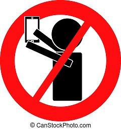 No selfie symbol isolated on white background