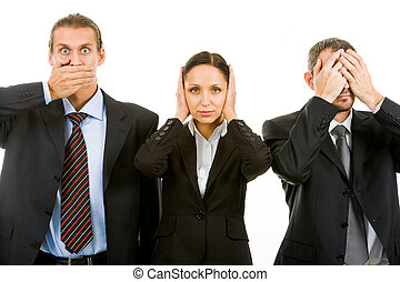 No senses - Row of business partners closing their eyes,...