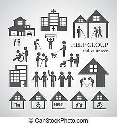 no, servicio, ganancia, símbolo, social, voluntario