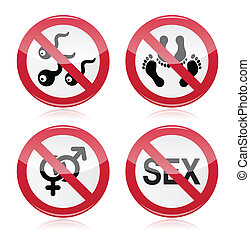 No sex, romance red warning sign - Red glossy sign - sex...