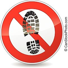 no shoes walking sign - illustration of red and black circle...