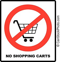 No shopping cart sign, vector illustration. Prohibition...