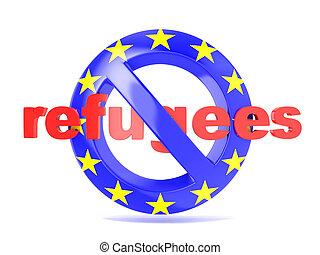 No sign. EU flag and word refugees