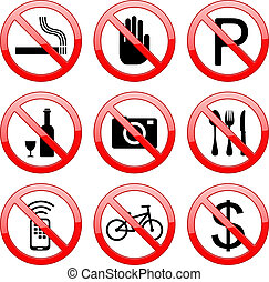 No Sign Icons - Vector No Sign Stop Sign: no smoking no...