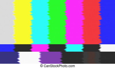 No signal flickering analog TV signal with bad interference, static, and color bars, glitch