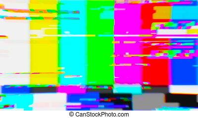 No signal screen in pixel art style grunge in 80 90 Color pixel Tv screen 4k