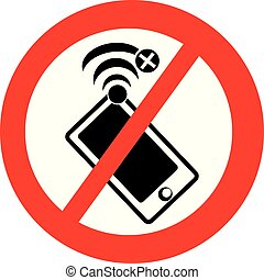 No signal symbol with mobile phone. Vector illustration.