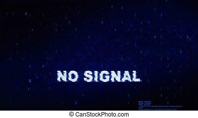No Signal Text Digital Noise Twitch Glitch Distortion Effect Error Animation.