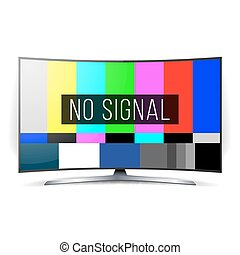 No Signal TV Test Vector. Lcd Monitor. Flat Screen TV. Television Colored Bars Signal. SMPTE Color bars