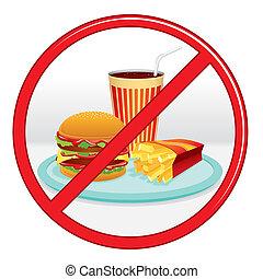 no, signo., rápido, comida., vector, prohibición, label.