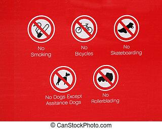 No skateboarding or rollerblading sign