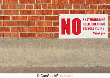 no skateboarding rollerblading bicycle riding