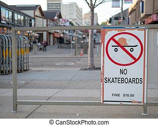 No skateboards warning sign at an urban area