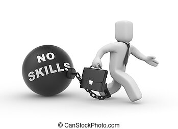 No skills - White 3D character dressed like a businessman...