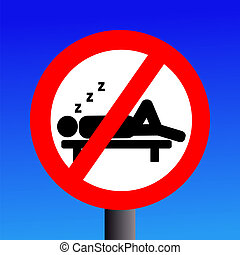 No sleeping sign on blue illustration