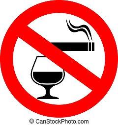No smoking and alcohol vector sign