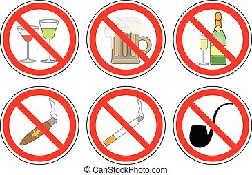 No smoking and drinking alcohol, set of prohibition sign, vector.