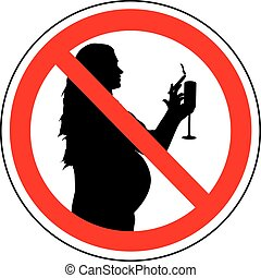 No smoking and drinking pregnant woman. Prohibition sign, vector.