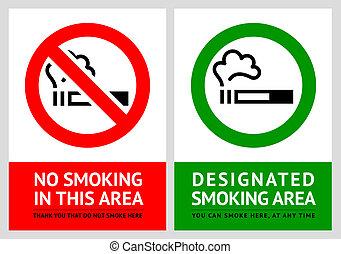 No smoking and Smoking area labels - Set 10