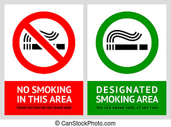 No smoking and Smoking area labels - Set 12, vector illustration